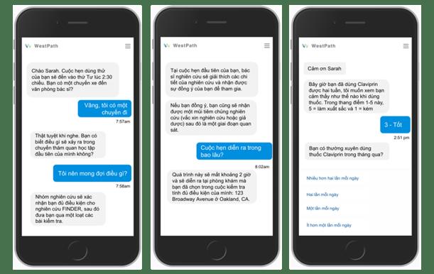 vietnamese chatbot screens